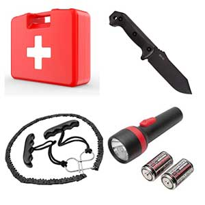 Survival Gears - First Aid kit, Steel razor knife, Pocket chain saw, Batteries/flashlight