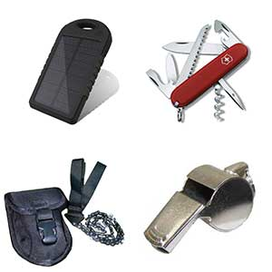 Swiss knives, Pocket Chainsaw, Charger, Whistle