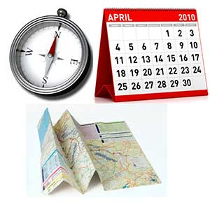 Compass, Calendar, and Map